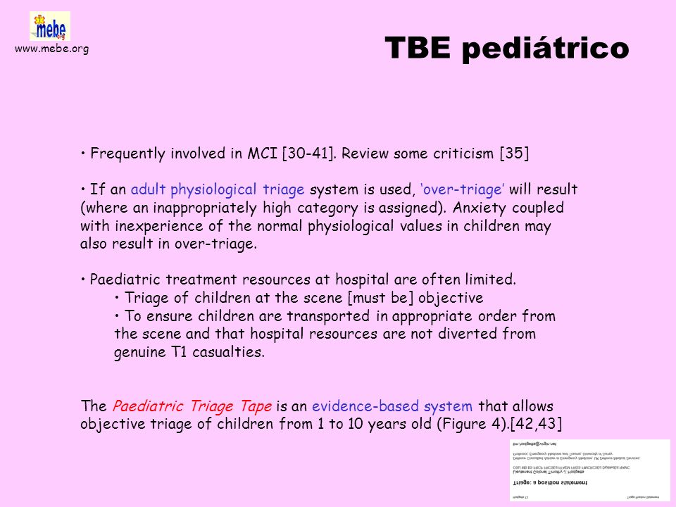 TBE pediátricoFrequently involved in MCI [30-41]. Review some criticism [35]